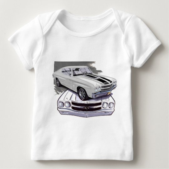 1970 Chevelle White-Black Car Baby T-Shirt