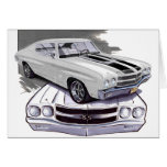 1970 Chevelle White-Black Car Greeting Card