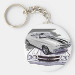1970 Chevelle White-Black Car Keychains