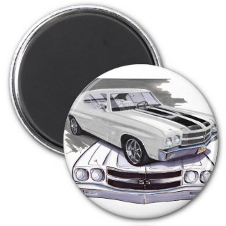 1970 Chevelle White-Black Car Magnet