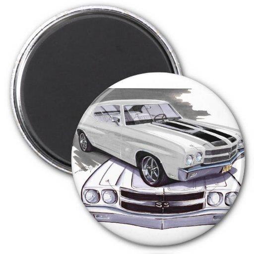 1970 Chevelle White-Black Car Refrigerator Magnet