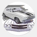 1970 Chevelle White-Black Car Classic Round Sticker