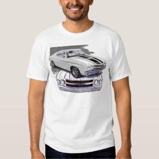 1970 Chevelle White-Black Car T-Shirt