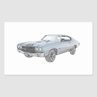 1970 chevy chevelle blue rectangular sticker