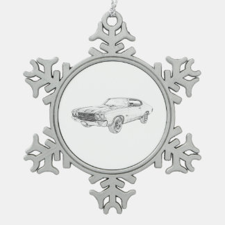 1970 chevy chevelle snowflake pewter christmas ornament