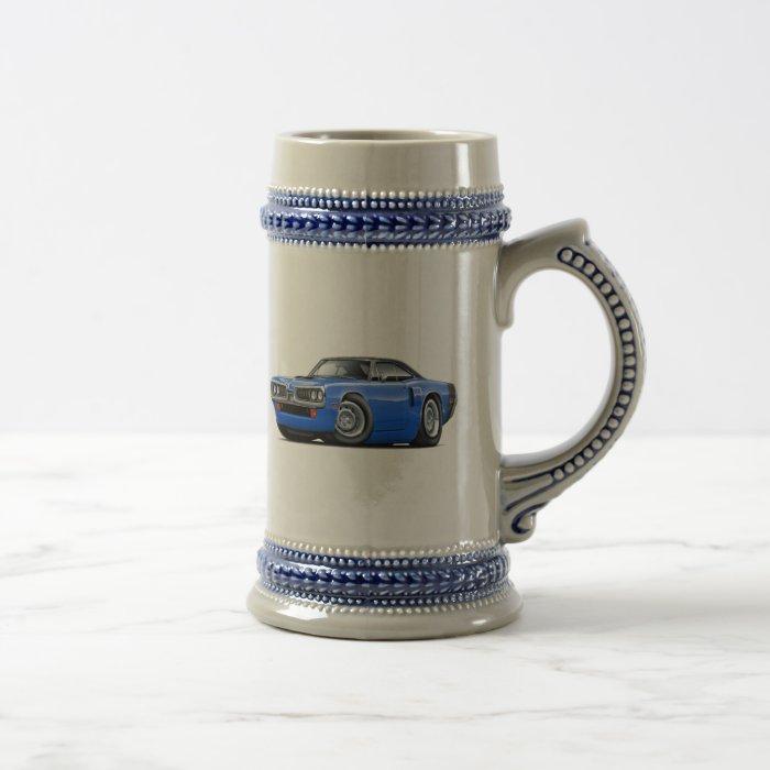 1970 Coronet RT Blue-Black Top Hood Scoop Car Beer Stein