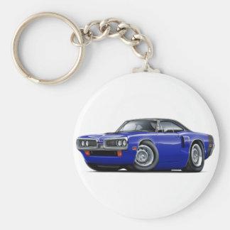 1970 Coronet RT Dk Blue-Black Top Hood Scoop Car Basic Round Button Keychain