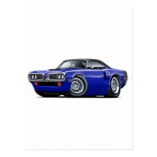 1970 Coronet RT Dk Blue-Black Top Hood Scoop Car Postcard