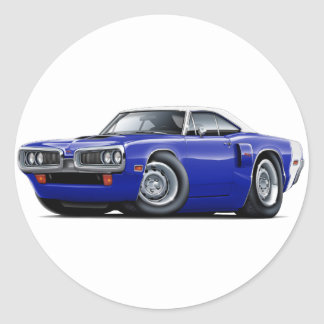 1970 Coronet RT Dk Blue-White Top Hood Scoop Car Classic Round Sticker