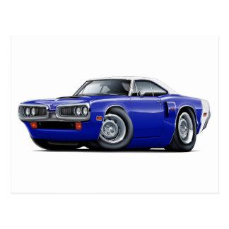 1970 Coronet RT Dk Blue-White Top Hood Scoop Car Postcard