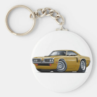 1970 Coronet RT Gold Hood Scoop Car Basic Round Button Keychain