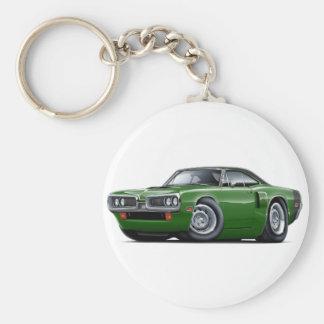1970 Coronet RT Green-Black Top Hood Scoop Car Basic Round Button Keychain