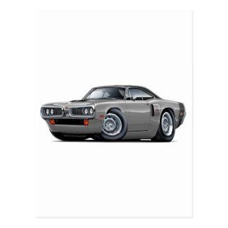 1970 Coronet RT Grey-Black Top Hood Scoop Car Postcard