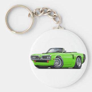1970 Coronet RT Lime-Black Hood Scoop Convert Basic Round Button Keychain