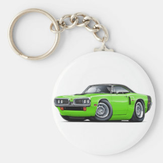 1970 Coronet RT Lime-Black Top Hood Scoop Car Basic Round Button Keychain