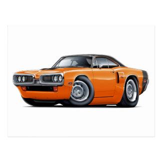 1970 Coronet RT Orange-Black Top Hood Scoop Car Postcard