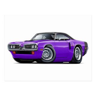 1970 Coronet RT Purple-Black Top Hood Scoop Car Postcard