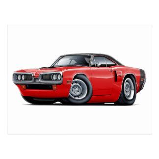1970 Coronet RT Red-Black Top Hood Scoop Car Postcard