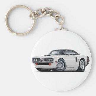 1970 Coronet RT White-Black Top Hood Scoop Car Basic Round Button Keychain