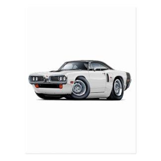 1970 Coronet RT White-Black Top Hood Scoop Car Postcard
