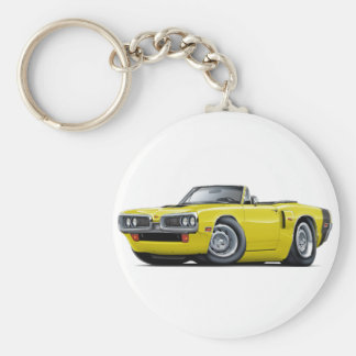1970 Coronet RT Yellow-Black Hood Scoop Convert Basic Round Button Keychain
