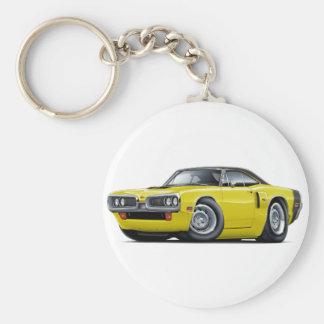 1970 Coronet RT Yellow-Black Top Hood Scoop Car Basic Round Button Keychain