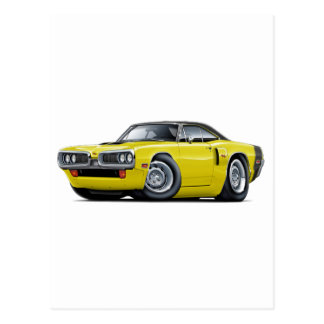 1970 Coronet RT Yellow-Black Top Hood Scoop Car Postcard