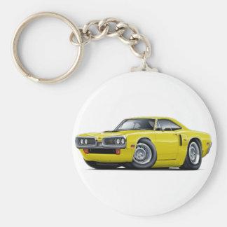 1970 Coronet RT Yellow Hood Scoop Car Basic Round Button Keychain