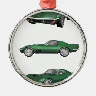 1970 Corvette: Green Finish Metal Ornament