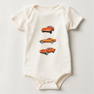 1970 Corvette: Orange Finish Baby Bodysuits