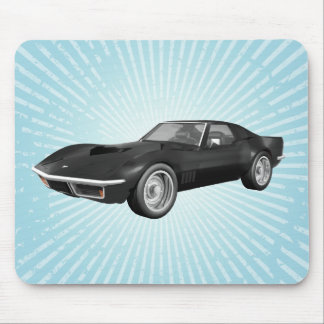 1970 Corvette Sports Car: Black Finish: Mousepad