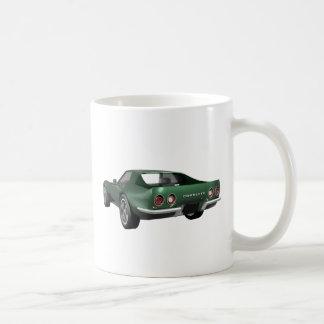 1970 Corvette Sports Car: Green Finish Classic White Coffee Mug