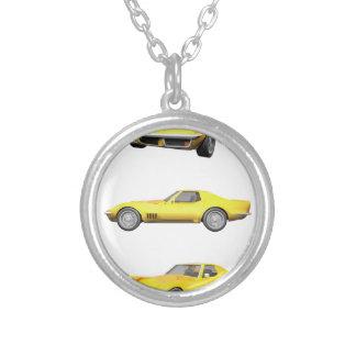 1970 Corvette: Yellow Finish: Round Pendant Necklace