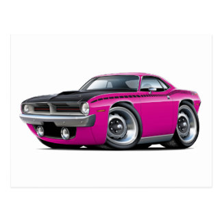 1970 Cuda AAR Pink Car Post Card