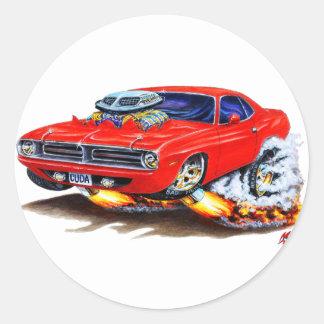 1970 Cuda Red Car Round Stickers