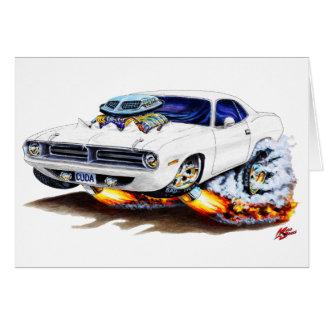 1970 Cuda White Car Greeting Card