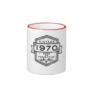 1970 envejecido a la perfección taza de dos colores