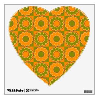1970 flower power orange and olive green retro wall sticker