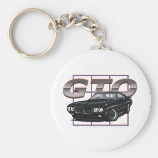 1970 GTO Black Basic Round Button Keychain