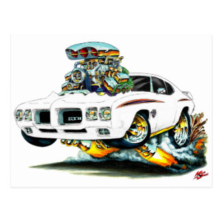 1970 GTO Judge White Car Postcard