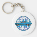 1970 monte carlo chevy blue basic round button keychain