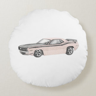 1970 Plymouth Barracuda Round Pillow