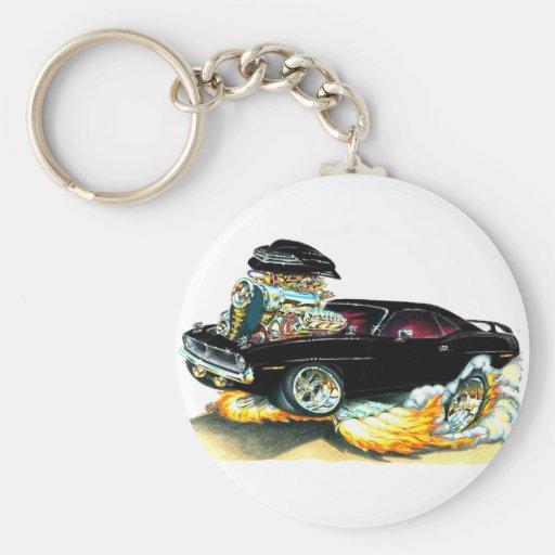 1970 Plymouth Cuda Black Car Basic Round Button Keychain