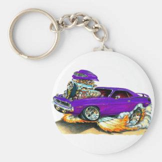 1970 Plymouth Cuda Purple Car Basic Round Button Keychain