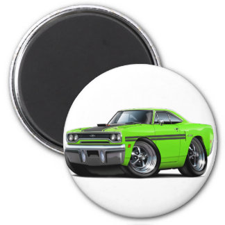 1970 Plymouth GTX Lime-Black Car 2 Inch Round Magnet