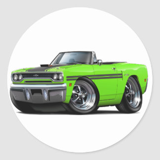 1970 Plymouth GTX Lime-Black Convertible Classic Round Sticker