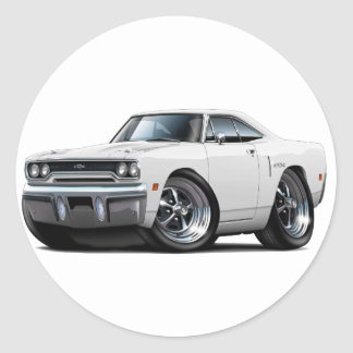 1970 Plymouth GTX White Car Classic Round Sticker