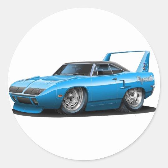 1970 Plymouth Superbird Blue Car Classic Round Sticker