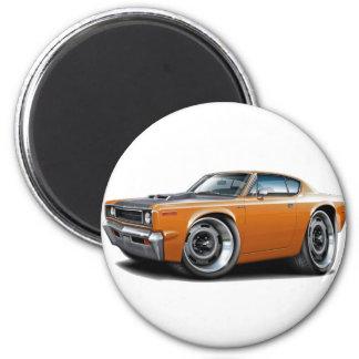 1970 Rebel Machine Orange-Black Hood 2 Inch Round Magnet