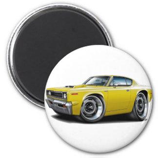 1970 Rebel Machine Yellow-Hood Scoop 2 Inch Round Magnet
